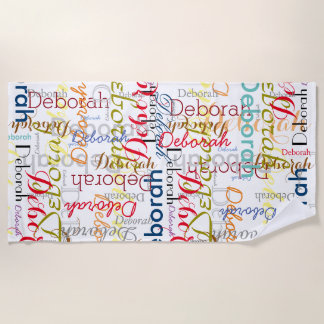 create personalized name typography beach towel