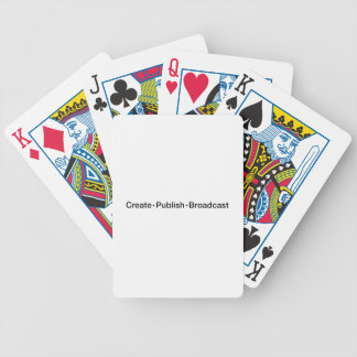 """CREATE  •  PUBLISH  •  BROADCAST"", text, CREATE, Bicycle Playing Cards"