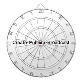 """""""CREATE  •  PUBLISH  •  BROADCAST"""", text, CREATE, Dartboard"""
