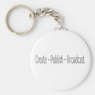 """CREATE  •  PUBLISH  •  BROADCAST"", text, CREATE, Key Ring"