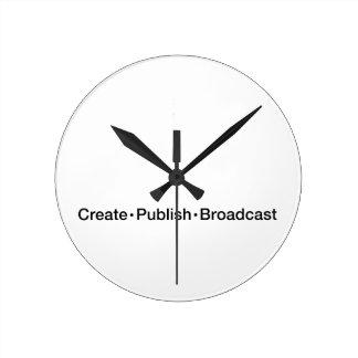 """CREATE  •  PUBLISH  •  BROADCAST"", text, CREATE, Round Clock"