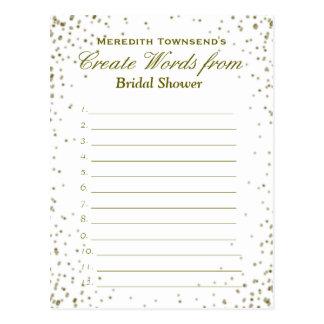 Create Words   Gold Confetti Postcard