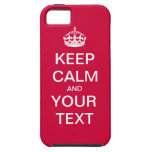 """Create Your Custom Text """"Keep Calm and Carry On""""! iPhone 5 Cover"""