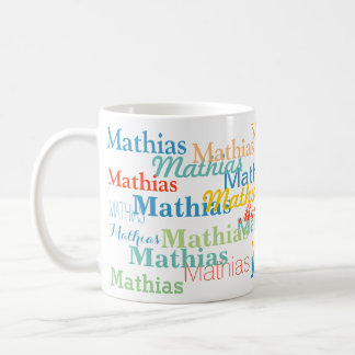 create your name pattern on white coffee mug