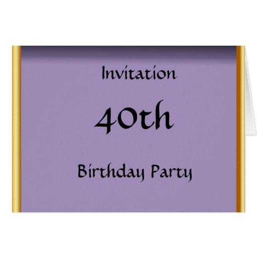 Create your Own 40th Birthday Invitation Card Greeting Cards | Zazzle: zazzle.com.au/create_your_own_40th_birthday_invitation_card...