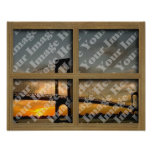 Create Your Own 4 Pane Brown Wood Window Frame Posters