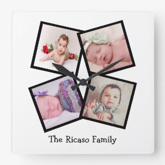 Create Your Own 4 Photo Collage Personalized Square Wall Clock