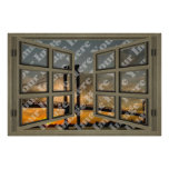 Create Your Own 6 Pane Light Brown Open Window Poster