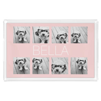 Create Your Own 8 Photo Collage & Name Blush Pink Acrylic Tray