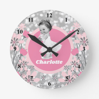 Create Your Own Baby Girl Name Floral Pink Silver Round Clock