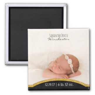 Create Your Own | Baby Photo Birth Announcement Square Magnet