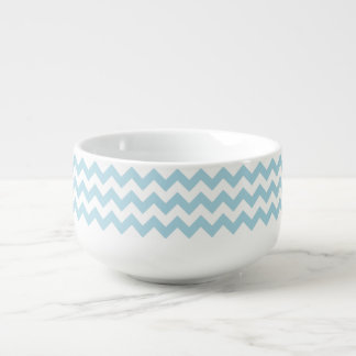 Create Your Own Big Light Blue Zigzag Pattern Soup Mug
