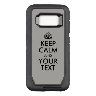 Create Your Own Black Keep Calm and Your Text OtterBox Defender Samsung Galaxy S8 Case