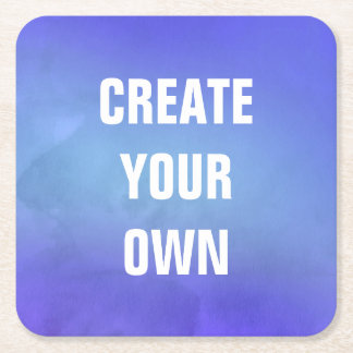 Create Your Own Blue Watercolor Painting Square Paper Coaster
