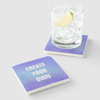 Create Your Own Blue Watercolor Painting Stone Coaster