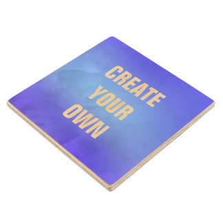 Create Your Own Blue Watercolor Painting Wood Coaster