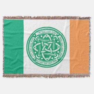 Create Your Own Celtic Knot Shamrock Green Irish Throw Blanket