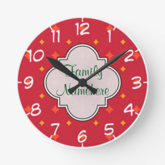 Create Your Own Christmas Patterned Holiday Round Clock