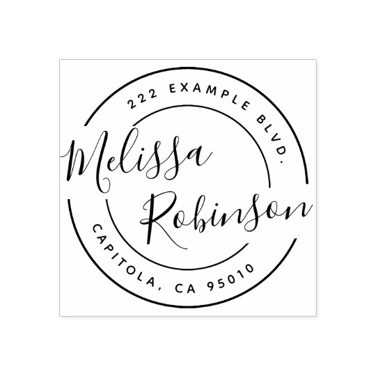 Design Your Own Rubber Stamp: Create Your Own Circle Return Address Script Name Rubber