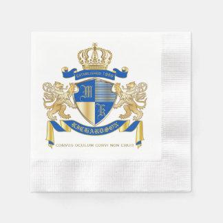 Create Your Own Coat of Arms Blue Gold Lion Emblem Disposable Serviettes