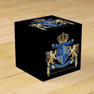 Create Your Own Coat of Arms Blue Gold Lion Emblem Favour Box