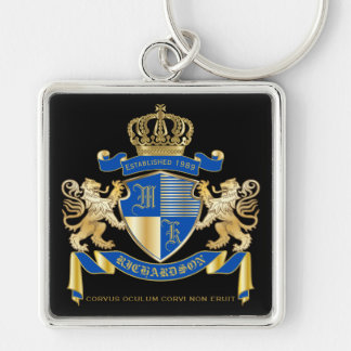 Create Your Own Coat of Arms Blue Gold Lion Emblem Key Ring
