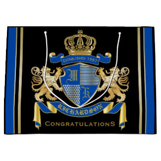 Create Your Own Coat of Arms Blue Gold Lion Emblem Large Gift Bag