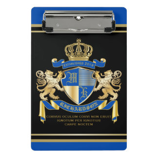 Create Your Own Coat of Arms Blue Gold Lion Emblem Mini Clipboard