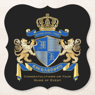 Create Your Own Coat of Arms Blue Gold Lion Emblem Paper Coaster