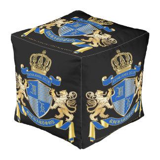 Create Your Own Coat of Arms Blue Gold Lion Emblem Pouf