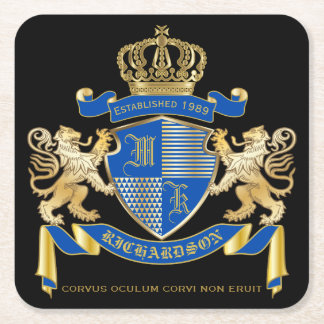 Create Your Own Coat of Arms Blue Gold Lion Emblem Square Paper Coaster