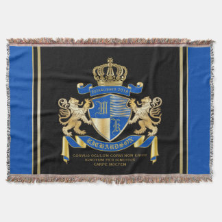 Create Your Own Coat of Arms Blue Gold Lion Emblem Throw Blanket