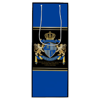 Create Your Own Coat of Arms Blue Gold Lion Emblem Wine Gift Bag