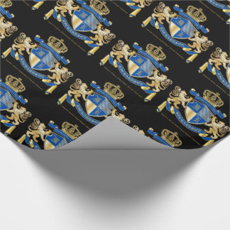 Create Your Own Coat of Arms Blue Gold Lion Emblem Wrapping Paper