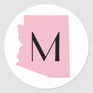 Create Your Own Color Arizona Wedding Monogram Classic Round Sticker