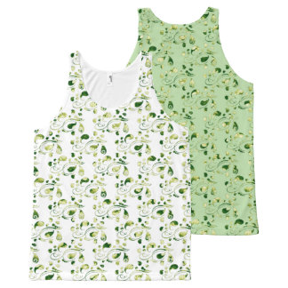 Create Your Own Color Change Green Paisley All-Over Print Singlet