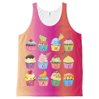 Create Your Own Cupcake Monogram Delicious Treats All-Over Print Singlet