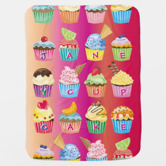 Create Your Own Cupcake Monogram Delicious Treats Baby Blanket