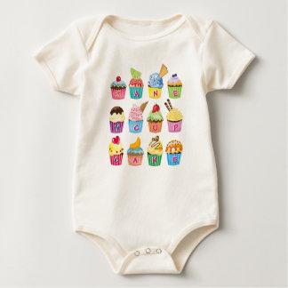 Create Your Own Cupcake Monogram Delicious Treats Baby Bodysuit