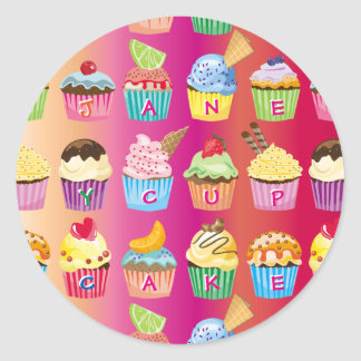 Create Your Own Cupcake Monogram Delicious Treats Classic Round Sticker