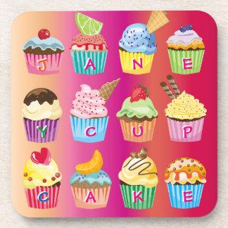 Create Your Own Cupcake Monogram Delicious Treats Coaster