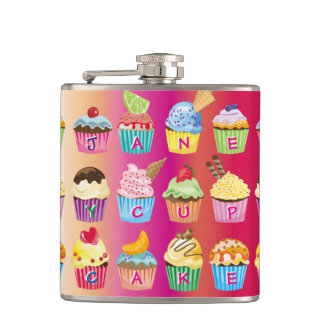 Create Your Own Cupcake Monogram Delicious Treats Hip Flask