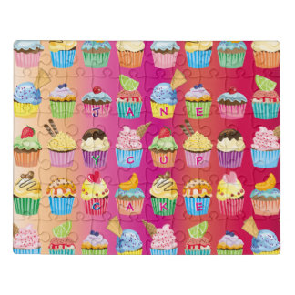 Create Your Own Cupcake Monogram Delicious Treats Jigsaw Puzzle