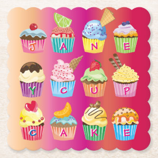 Create Your Own Cupcake Monogram Delicious Treats Paper Coaster