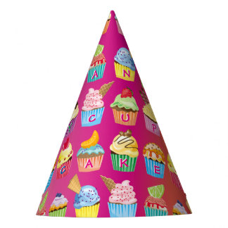 Create Your Own Cupcake Monogram Delicious Treats Party Hat