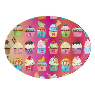 Create Your Own Cupcake Monogram Delicious Treats Porcelain Serving Platter