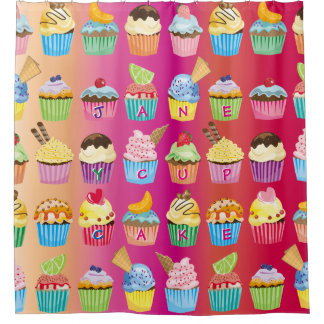 Create Your Own Cupcake Monogram Delicious Treats Shower Curtain
