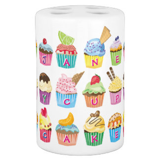 Create Your Own Cupcake Monogram Delicious Treats Soap Dispenser And Toothbrush Holder