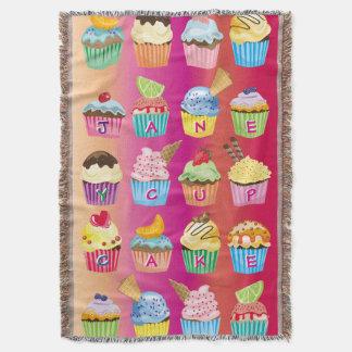 Create Your Own Cupcake Monogram Delicious Treats Throw Blanket
