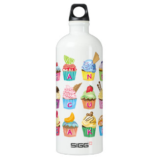 Create Your Own Cupcake Monogram Delicious Treats Water Bottle